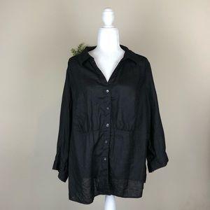 TALBOTS   Black Irish Linen Button Down Blouse 16W